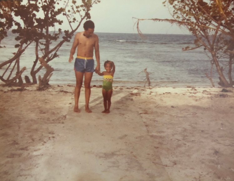 G.P. with her dad in the Grenadines.